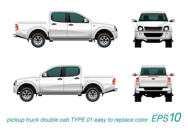 Weiße pickup doppelkabine