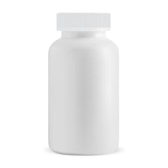 Weiße pillenflasche leer isolierte medizinergänzungsglas-vektor-design verschreibungspflichtige kapselbox