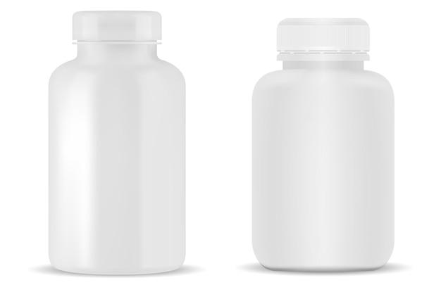 Weiße pillenflaschenillustration