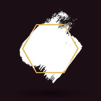 Weiße pinselstriche und goldener sechseckiger rahmen