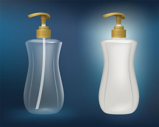 Weiße plastik- und klare plastikflaschen für seife