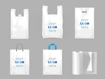 Weiße plastikeinkaufstaschen