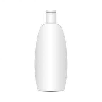 Weiße plastikflasche für shampoo, lotion, duschgel, körpermilch, badeschaum. realistische vorlage