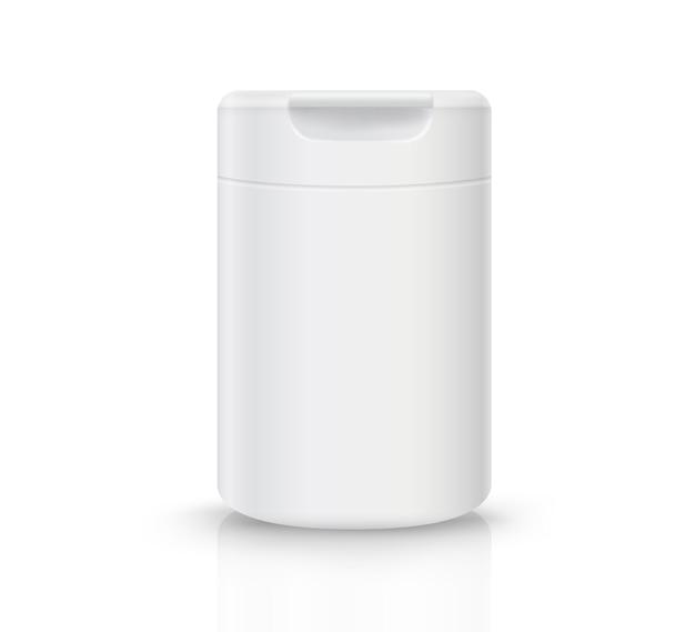 Weiße plastikflasche mit flip-top-kappe auf weißem hintergrund mit reflexionen und objekten
