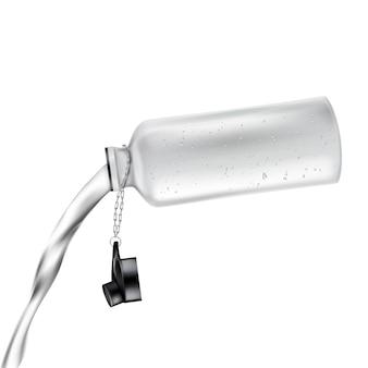Weiße plastikflasche mit offenem deckel und mit dem süßwasser, das heraus, lokalisiert auf hintergrund ausläuft.