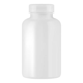 Weiße plastikpillenglasschablone.
