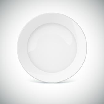 Weiße platte mit schatten.