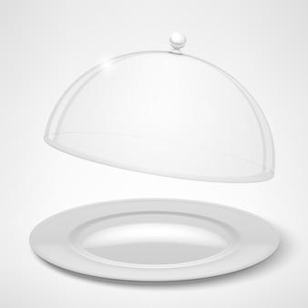Weiße platte und transparenter deckel