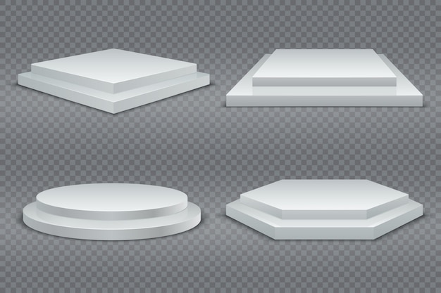 Weiße podien. rundes und quadratisches leeres podium 3d mit schritten. ausstellungsraumsockel, bodenbühnenplattform