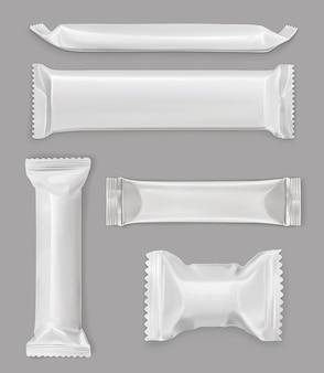 Weiße polyethylenverpackung, schokoriegel, modellsatz