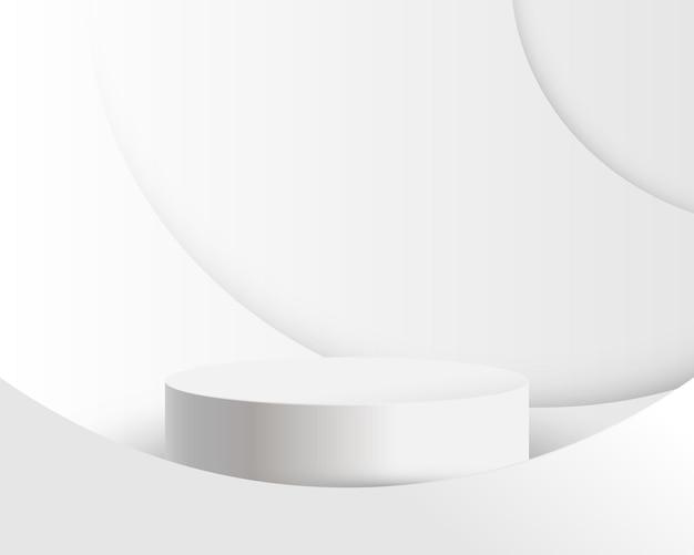 Weiße produktanzeige mit weißem hintergrund der abstrakten kurvenlinien. 3d podium.