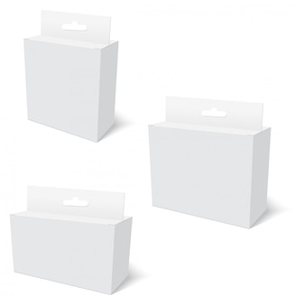 Weiße produktverpackung mit hang slot