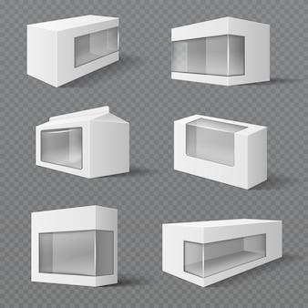 Weiße produktverpackungen. geschenkverpackungen mit transparentem fenster. vektormodelle isoliert. abbildung des paketkastenbehälters mit transparentem fenster