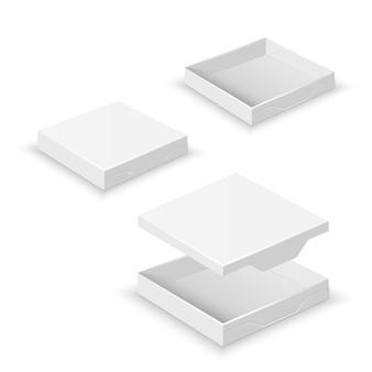 Weiße quadratische flache leere 3d kästen lokalisiert auf weißer vektorschablone. pappbehälter für pizza de