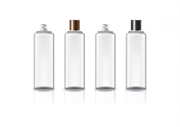 Weiße quadratische kosmetikflasche mit zweifarbigem kupfer-schwarzem schraubdeckel.