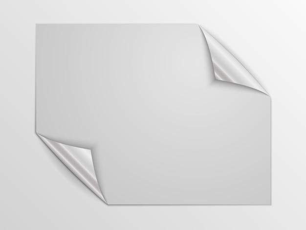 Weiße quadratische seite isoliert. papierseite mit silbernen ecken.