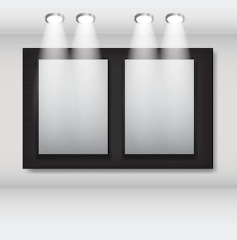 Weiße rahmen in der kunstgalerie-vektorillustration