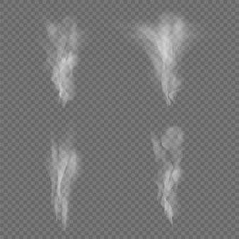Weiße rauchwellen lokalisiert auf transparentem