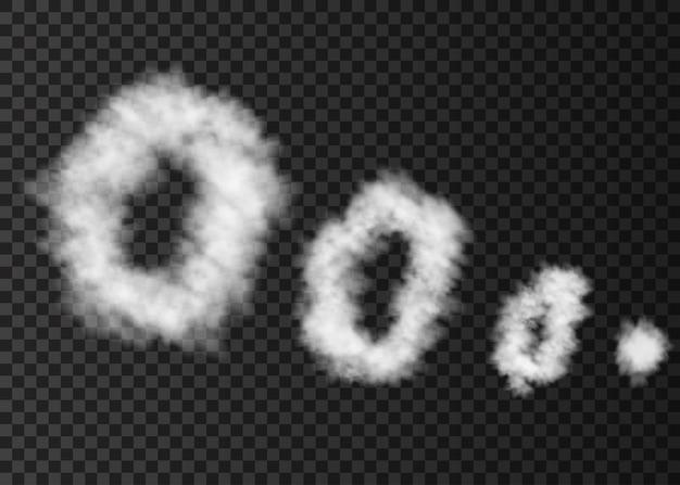 Weiße rauchwolke isoliert auf transparent