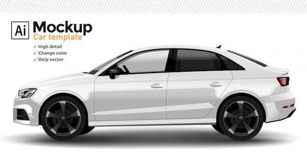 Weiße realistische autoschablone. ändern sie die körperfarbe.