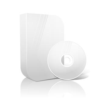 Weiße realistische isolierte dvd, cd, blue-ray-gehäuse mit glatter form und dvd, cd auf weißem hintergrund mit reflexion. mit platz für ihre texte und bilder.