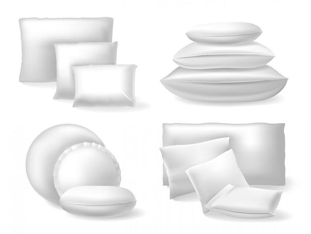 Weiße realistische kissen. komfortbett weiche kissen, ruhe und schlaf gemütliche baumwolle oder leinen kissen illustration ikonen gesetzt. gemütliches und ruhiges kissen bequemer, rechteckiger schlaf