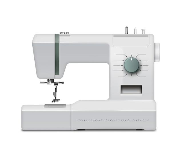Weiße realistische nähmaschine lokalisiert auf weißem hintergrund