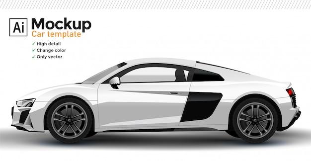 Weiße realistische sportwagenschablone. ändern sie die körperfarbe.