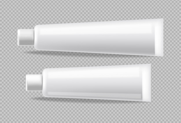 Weiße röhren realistisch isoliert. leeren container bewerben. detaillierte abbildungen für kosmetik, medizin oder zahnpasta 3d