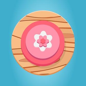 Weiße rosa rote hölzerne blumenknopfkarikatur-lustige spielknopfschnittstellenelemente stellen erstklassigen vektor ein