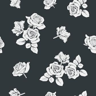Weiße rosen auf schwarzem hintergrund