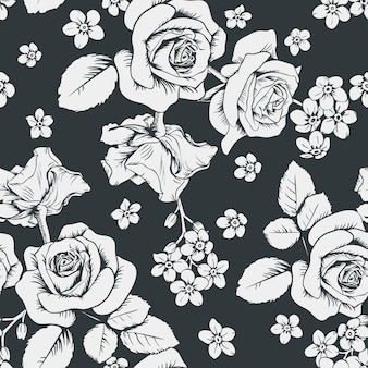 Weiße rosen und myosotisblumen auf schwarzem hintergrund.
