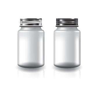 Weiße runde beilagen oder medizinflasche mit zweifarbigem silber-schwarzem schraubdeckel.
