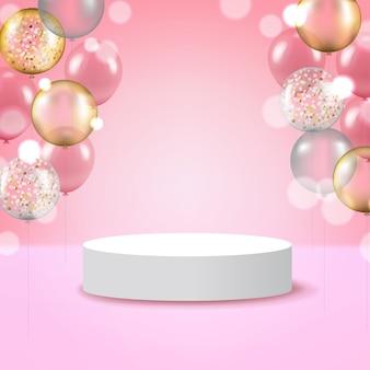 Weiße runde podiumsockelszene mit rosa hintergrund und bunten luftballons