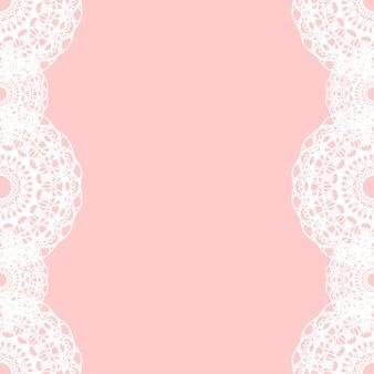 Weiße runde spitze grenze auf rosa hintergrund
