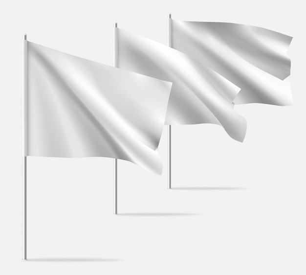 Weiße saubere horizontale wellenschablonenflagge.