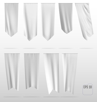 Weiße saubere vertikale wellenflaggen.