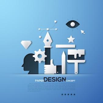 Weiße schattenbilder von designer- und illustratorwerkzeugen, kopf, handbehälter, bezier-kurve. elemente in einfachem stil.