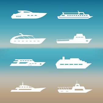 Weiße schiffs- und bootsikonensammlung