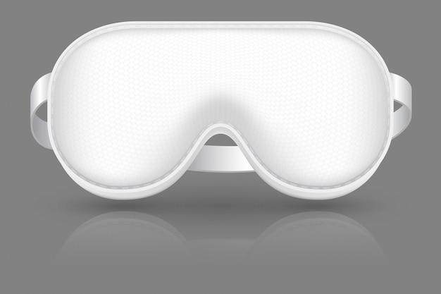Weiße schlafmaske. augenbinde für flugzeug entspannen sich. bedecken sie die augen.