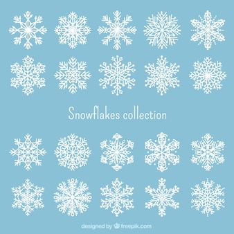 Weiße schneeflocken sammlung
