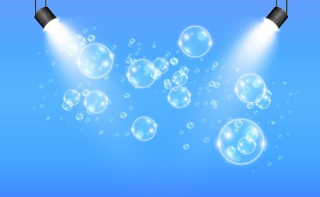 Weiße schöne blasen auf einer transparenten hintergrundillustration. seifenblasen.