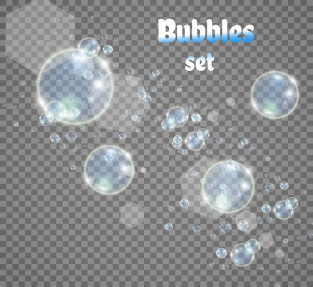 Weiße schöne blasen auf einer transparenten hintergrundillustration seifenblasen