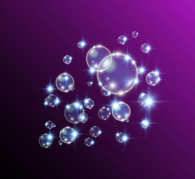 Weiße schöne blasen. seifenblasen.