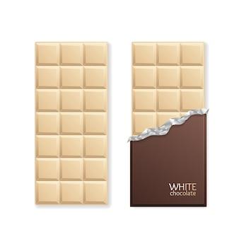 Weiße schokolade paket bar leer. vektor-illustration