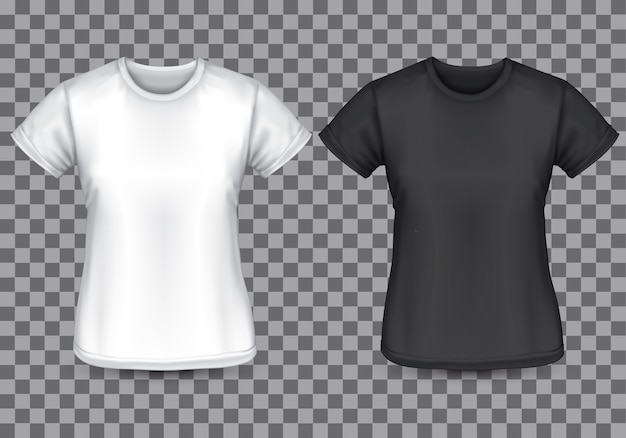 Weiße schwarze leere front des frauen-t-shirts