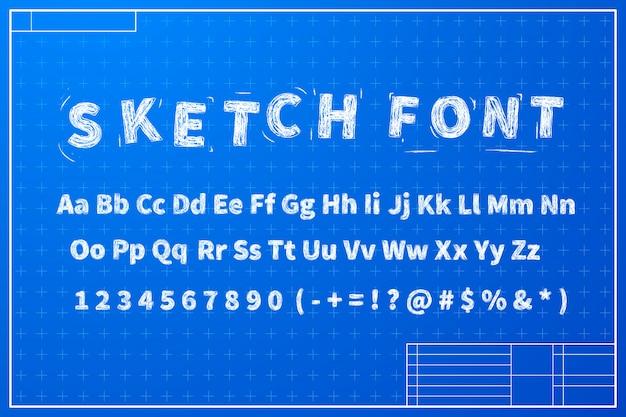 Weiße skizzenschrift auf blaupausenlayoutplan