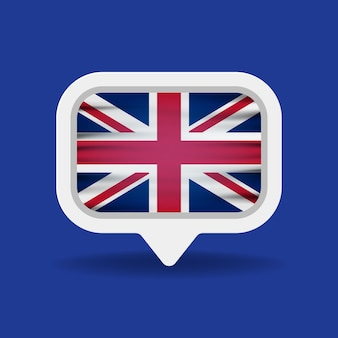 Weiße sprechblase mit großbritannien-flagge