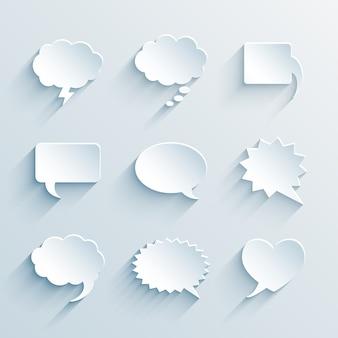 Weiße sprechblasen aus leerem papier des vektors leer