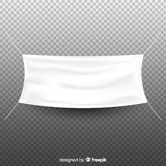 Weiße stofffahne